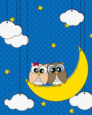 Owls couple — Stock Vector