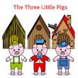 The three little pigs and the big bad wolf — Stock Vector #35838923