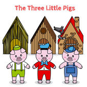 The three little pigs and the big bad wolf — Stock Vector