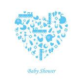Carte de naissance bébé garçon — Vecteur