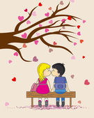 Valentines card. Children they kiss — Stock Vector