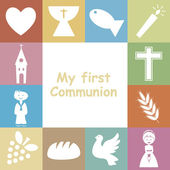 First Communion Invitation Card — ストックベクタ