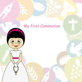 First Communion Invitation Card — Stock Vector