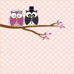 Owls in love. wedding card — Stock Vector #42187837