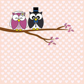 Owls in love. wedding card — Stock Vector