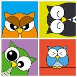 Funny Owls card — Stock Vector