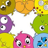 Funny birds card — Stock Vector