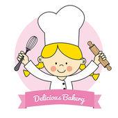 Illustration of Little Chef girl — Stock Vector