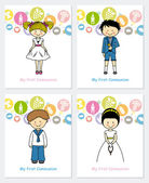 Set first communion — Stock Vector