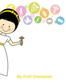 Girl first Communion Invitation Card — Stock Vector