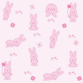 Baby pink background. Funny rabbits — Stock Vector