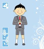Jongen eerste communie uitnodigingskaart — Stockvector