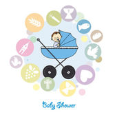 Baby boy baptism invitation card — Stockvektor