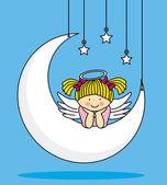 Angel on a Moon — 图库矢量图片