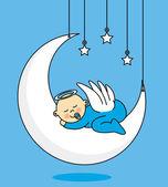Baby boy sleeping on the moon — Stock Vector
