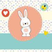 Cute bunny, greeting card — Stockvektor