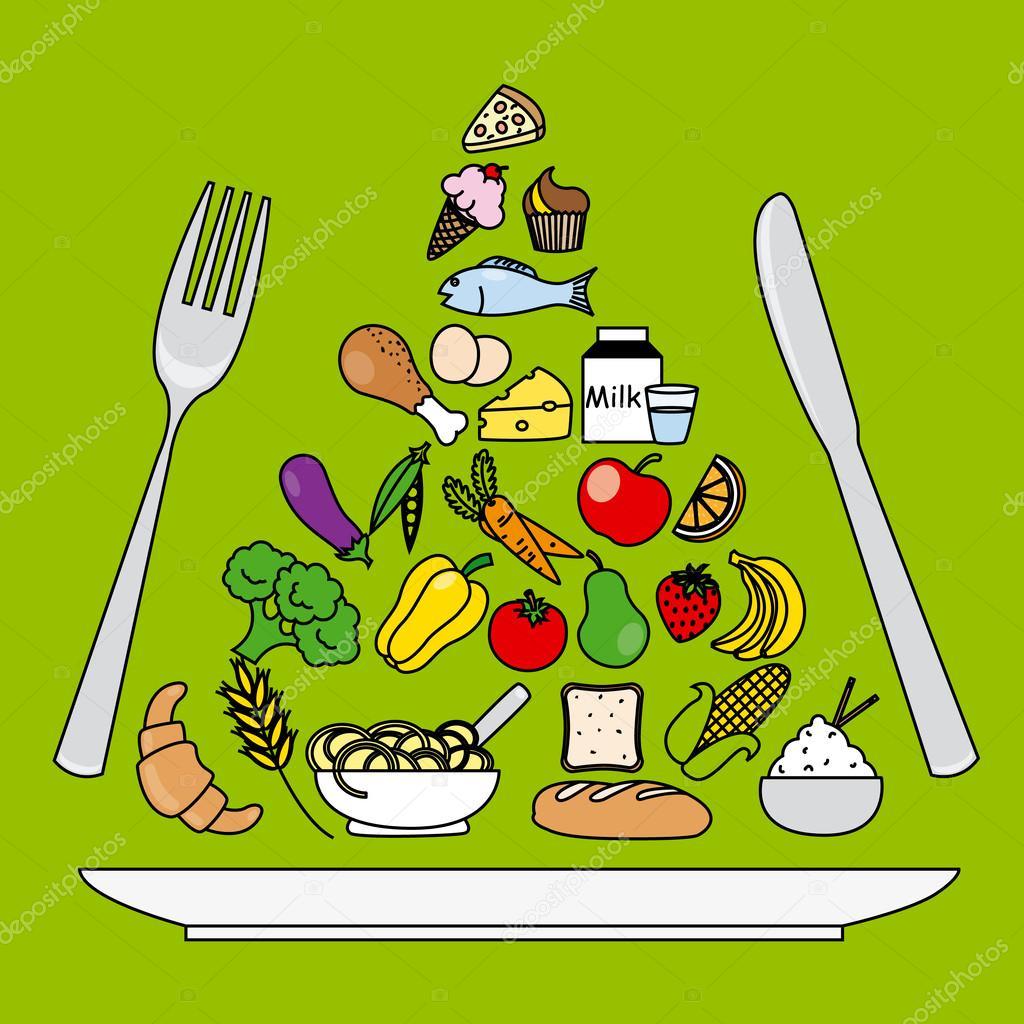 Pir mide de alimentos plato tenedor y cuchillo archivo for Plato tenedor y cuchillo