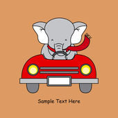 Greeting card. elephant in a car — Cтоковый вектор