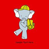Elefante va a scuola con zaino — Vettoriale Stock