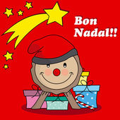 Caga tio. Traditional Christmas Celebration in catalunya — Stock Vector