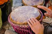 Man playing the djembe — Stock Photo