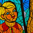 Stained-glass window. Made in USSR — Stock Photo #13949783