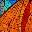 Stained-glass window. Made in USSR — Stock Photo