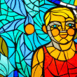 Stained-glass window. Made in USSR — Stock Photo #13949792
