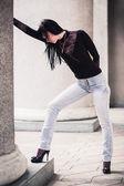 Beautiful thoughtful young woman outdoors — Stock Photo