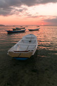 Zonsondergang met boten — Stockfoto
