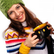 Smiling girl in winter style - Stock Photo