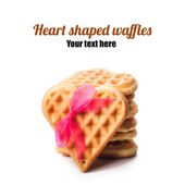 Stack of heart shaped waffles — Stock Photo