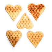 Five heart shaped waffles — Stock Photo