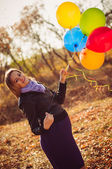 Girl with ballons — Stock Photo