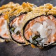 Tempura roll with salmon and scallop — Stock Photo #39073751