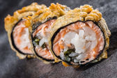 Tempura roll with salmon and scallop — Stock Photo