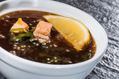 Japanese soup with salmon and omelet — Stock Photo