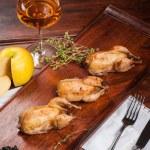 Three fried quails — Stock Photo