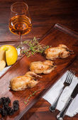 Three fried quails — Stock Photo