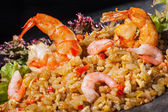 Hibachi rice with prawns — Stock Photo