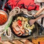 Постер, плакат: Fried rice with seafood
