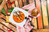Spanish tomato soup with seafood — Stock Photo