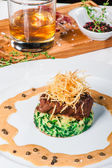 Fried meat with whiskey sauce — Stock Photo