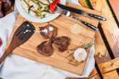 Fried spicy meat with grilled vegetables — Stock Photo