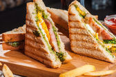 Grilled sandwiches with chicken and egg — Stock Photo