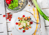 Salad with eggs and shrimps — Stock Photo