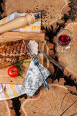 Grilled lamb on wooden board — Stock Photo