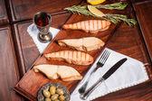 Grilled salmon and sturgeon — Stock Photo