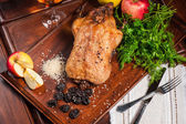 Fried duck stuffed with prunes — Stock Photo