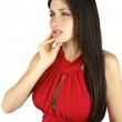 Girl with beautiful long hair suffering toothache — Stock Photo